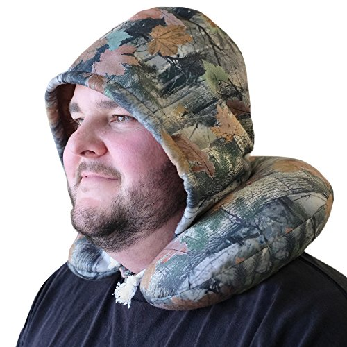Riverton Outfitters Camo Hooded Neck Pillow, Microbeads for Comfort with Adjustable Drawstring, Perfect For Airplane Travel, Neck Support, Hunting, Fishing, Outdoor Sporting, Camping (Hoody Country)