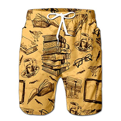 - Summer Shorts Pants Vintage Books Sketch with Bird Feather Tea Cup and Glasses Mens Golf Sports Shorts L