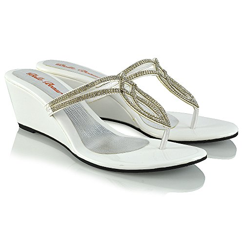 Essex Glam Womens Diamante Wedge Heel Synthetic Toe Post Sandals White nSwBrRlHG