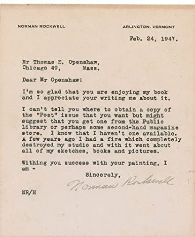 Amazon com: Norman Rockwell - Typed Letter Signed 02/24/1947