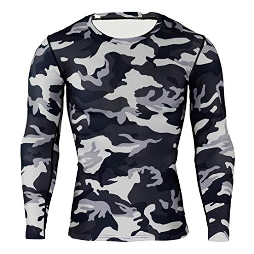 WUAI Deals, Mens Casual Shirts Camo Print Lightweight Crewneck Muscle Bodybuilding Sportswear Tops(Gray,US Size L = Tag XL) ()