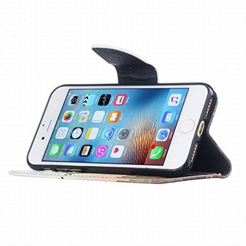 LEMORRY Apple iPhone 7 Plus Custodia Sbalzato Pelle Cuoio Flip Portafoglio Borsa Sottile Fit Bumper Protettivo Magnetico Chiusura Standing Card Slot Morbido Silicone TPU Case Cover Custodia per iPhone
