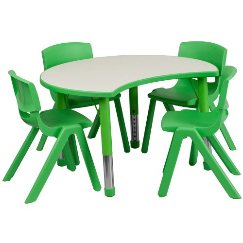 Flash Furniture 25.125''W x 35.5''L Cutout Circle Green Plastic Height Adjustable Activity Table Set with 4 Chairs by Flash Furniture