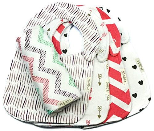 Ultimate Waterproof Baby Bib by Regaroo - Triple Layer with Cotton Front, Waterproof Inner Liner & Plush Minky Dot Back 0 to 18 Months (5 Pack Set)