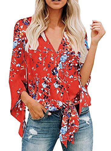 - Arainlo Women Floral Blouses 3/4 Sleeves Heavenly Hydrangeas Casual Loose Tie Knot Tops Large Orange