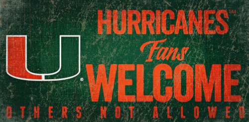 Miami Hurricanes Sign Wood 12x6 Fans Welcome Design (Hurricanes Miami Sign)