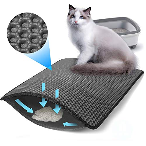 Devansi Cat Litter Mat Litter Trapper Large Size 60cm X 45cm, Honeycomb Double-Layer Design Waterproof Urine Proof Material, Easy Clean Scatter Control (Gray)