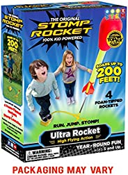 Stomp Rocket Ultra Rocket, 4 Rockets - Outdoor Rocket Toy Gift for Boys and Girls - Comes with Toy Rocket Laun