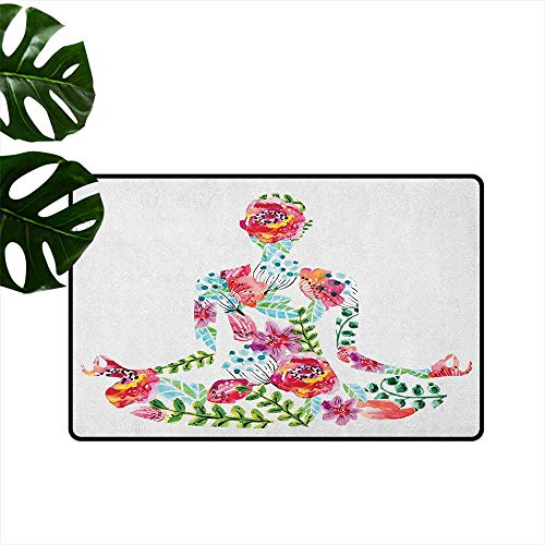 Ivory Lotus Garden Rug - RenteriaDecor Yoga,American Floor mats Silhouette in Lotus Pose with Blooming Watercolor Flowers Green Leaves Body and Mind 20