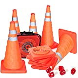 5PCS 18' Collapsible Traffic Cones Road Parking Cones Safety Construction Cones Emergency With Flashing Lamp