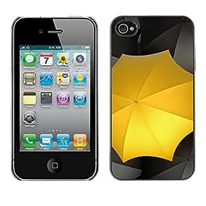 // PHONE CASE GIFT // Duro Estuche protector PC Cáscara Plástico Carcasa Funda Hard Protective Case for iPhone 4 / 4S / Paraguas Amarillo /