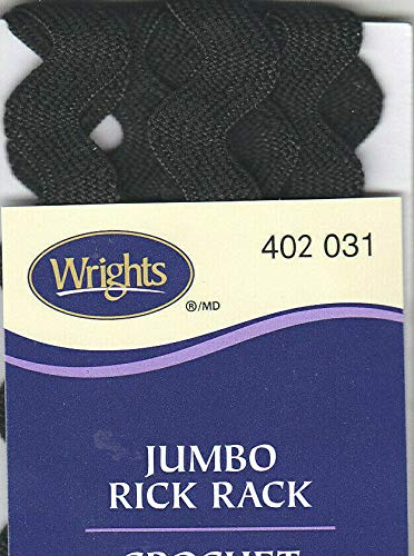"WRIGHTS BLACK (031) JUMBO RICK RACK 2 1/2 YARDS (5/8"" WIDE) TRIM"