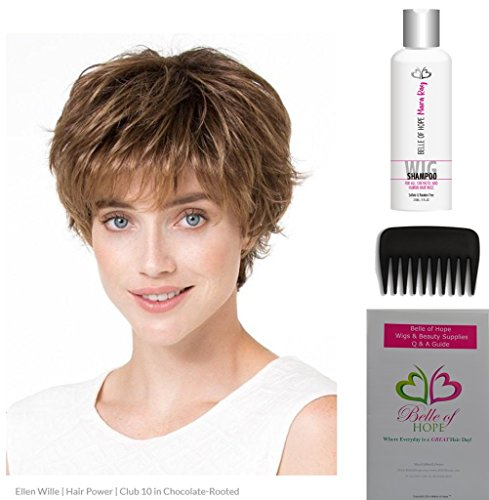 - 4pc Bundle: Club 10 Synthetic Wig by Ellen Wille, 19 Page Q & A Guide, 8.5oz Bottle of NEW Mara Ray Wig Shampoo and a Wide Tooth Comb (Caramel Rooted)