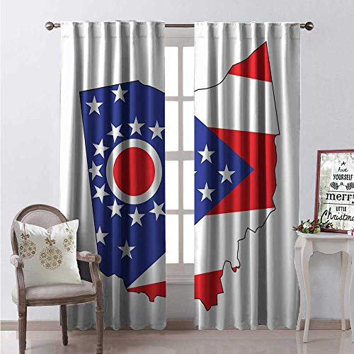 Hengshu Ohio Thermal Insulating Blackout Curtain Buckeye State Outline Map Flag Seventeen Stars Circle and Triangle Blackout Draperies for Bedroom W84 x L108 Blue White and Vermilion