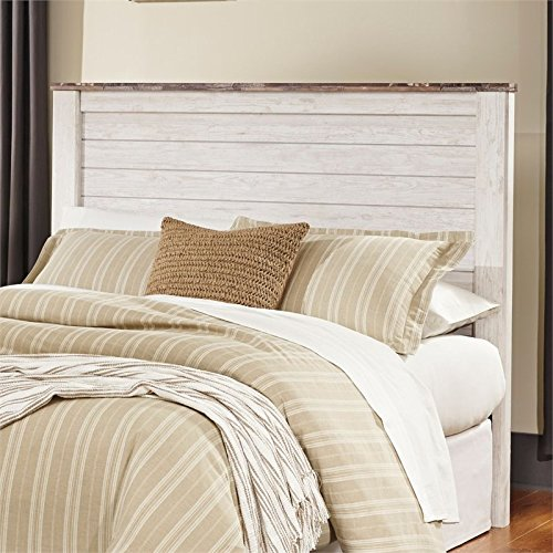 Ashley Furniture Signature Design - Willowton Full Panel Headboard - Contemporary Style - Queen Size - White (Shabby Cottage Furniture)