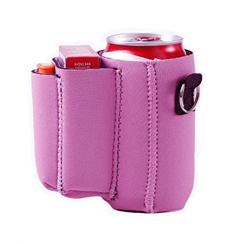 Can with Cigarette and Lighter Holder Slim Can Sleeves Neoprene Beverage Coolers (Pink)