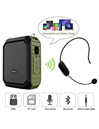 Amplificador de voz con micrófono auricular 18W portátil Bluetooth altavoz Megáfono Altavoz Altavoz Grabación de Voz Power Bank Impermeable IPX5 para actividades al aire libre, ducha, enseñanza
