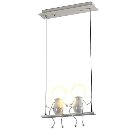 Creativo Iluminación colgante LED Moderno Doble Gente pequeña Colgante de luz Luces colgantes Comedor Planchar Muñeca de dibujos animados lámparas de ...