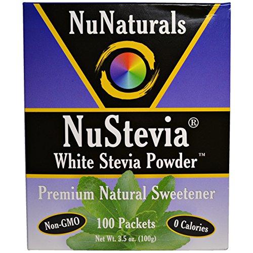 NuNaturals, NuStevia, White Stevia Powder, 100 Packets, 3.5 oz (100 g) - ()