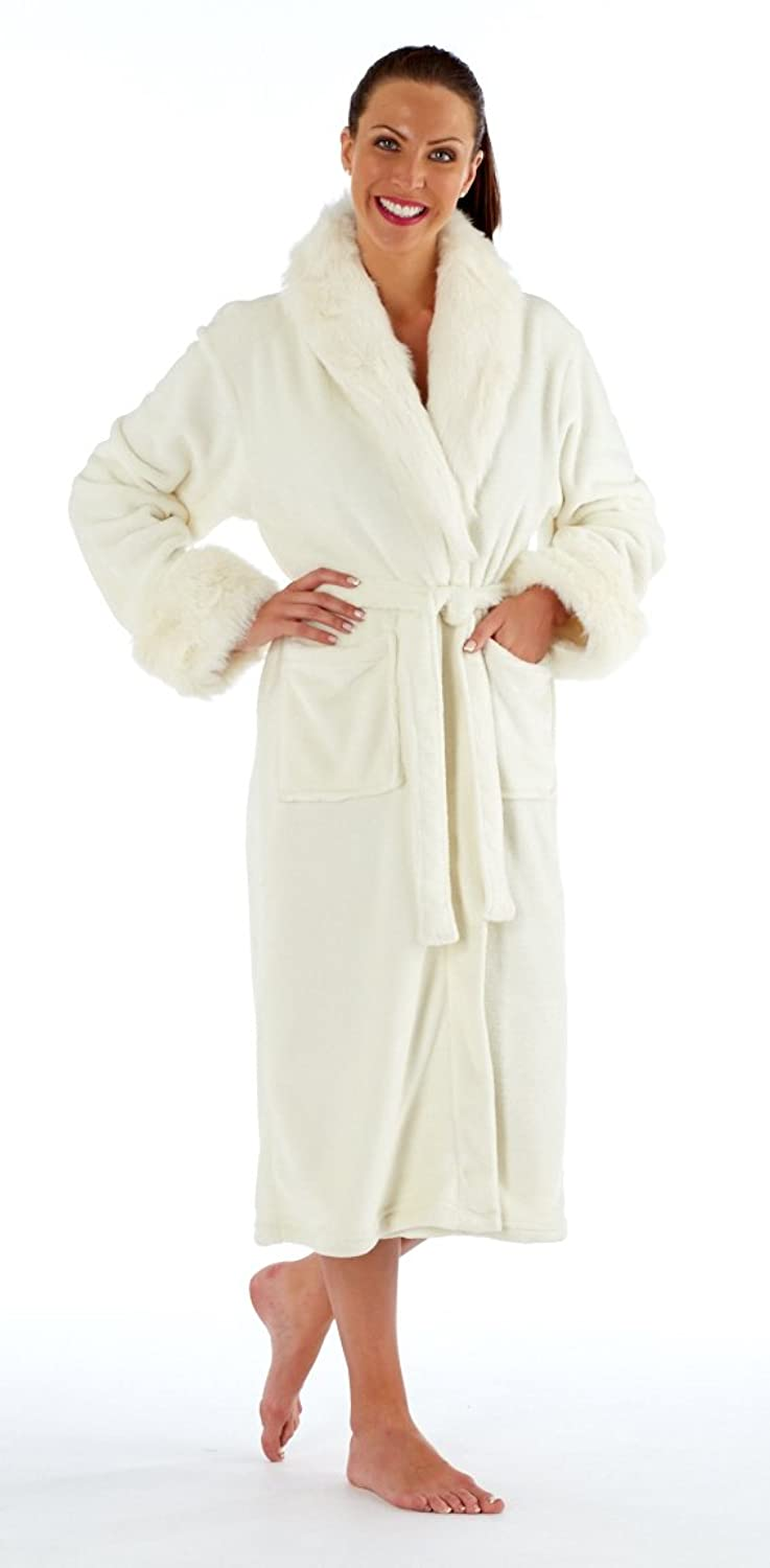 Inspirations Sameira Luxury Shawl Collar Robe/Dressing Gown/Burgundy or Ivory