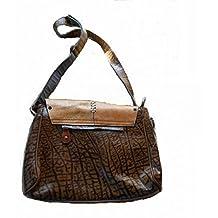 Handmade Brown Genuine Leather Vintage 60's Hippie Western Style Rustic Handbag