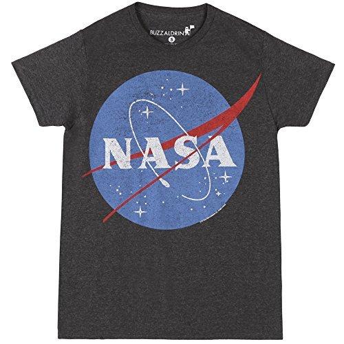 Nasa Logo Heather Charcoal T-Shirt (XL, Grey) (Cotton Soft Logo)