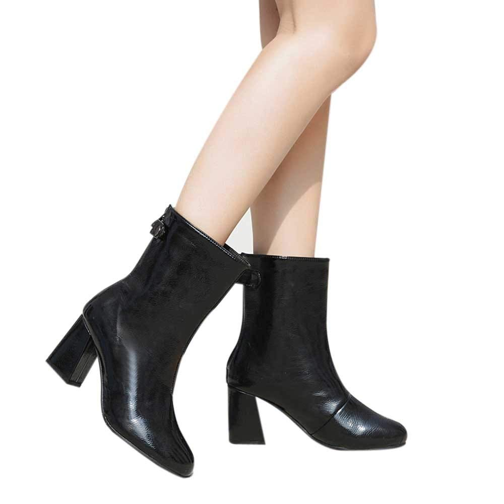 a28d52239dc Amazon.com: Women's Leather Ankle Boots Thin Heels Pointy Toe Zipper ...