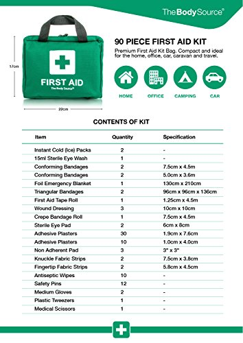 90 Pieces First Aid Kit - All-Purpose with Premium Medical Supplies and Soft Case for Home, Office, Car, Camping and Travel by The Body Source (Image #3)