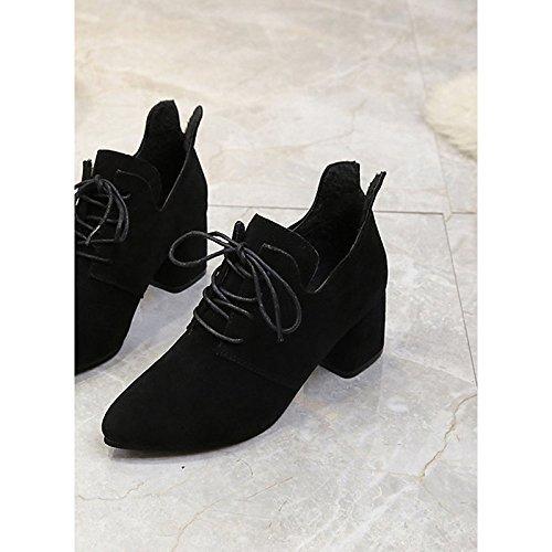 botas Black HSXZ para Casual Negro caqui ejército mujer bloque verde PU Toe señaló de tacón Confort Zapatos invierno de wqpUxrYqB