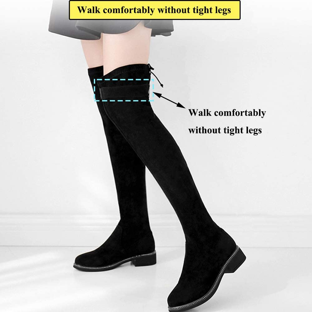 MOAMG 2 Pcs Knee Boots Straps with 12 Pcs Fasteners Anti-Slip Knee Boots Fixed Belt Adjustable Boots Straps Comfortable Boots Elastic Straps and Easy to Use Keeping Boots No Fall Off