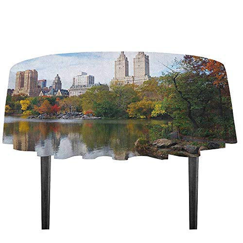 City Detachable Washable Tablecloth Manhattan Central Park Panorama in Autumn Scenic Lake View Colorful Trees Reflection Great for Parties Festivals etc. D59.05 Inch -