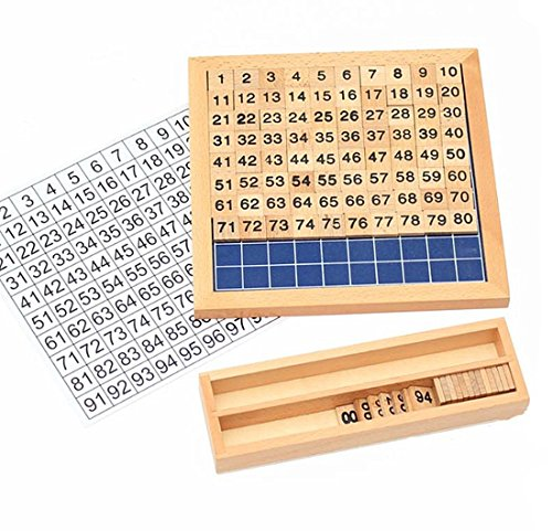 undred Board Montessori 1-100 Consecutive Numbers Educational Game for Kids with Storage Box ()