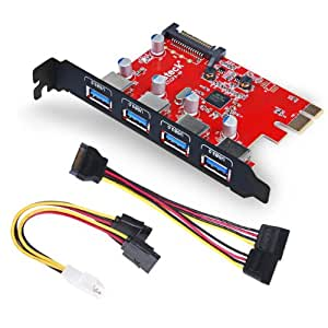 Inateck Superspeed 4 Ports PCI-E to USB 3.0 Expansion Card - Interface USB 3.0 4-Port Express Card Desktop with 15 Pin SATA Power Connector, [ Include with A 4pin to 2x15pin Cable + A 15pin to 2x 15pin SATA Y-Cable ] (KT4001)