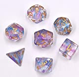 Polyhedral Dice Set Transparent Nebula DND Dice for Dungeons and Dragons MTG RPG Toptable Game (Purple Blue)