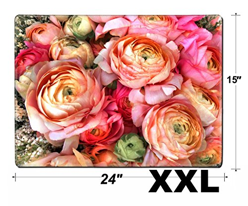 MSD Extra Large Mouse Pad XXL Extended Non-Slip Rubber Large Gaming Desk Mat Image ID 23898219 Bouquet of Pink Peony Floral Pattern