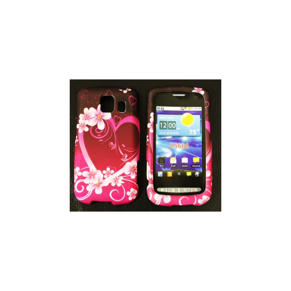 Pink with Purple Love Heart Rubberized Texture LG Vortex Vs660 Snap on Cell Phone Case + Microfiber Bag