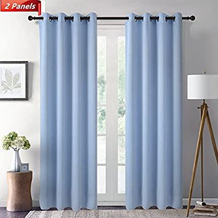 GIAERD Blackout Panel Curtains Wide 52 X Long 84 Inches,Room Darkening Solid Ring Top