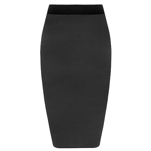 Ladies Women Jersey Stretchy Elasticated Pencil Plain Office Bodycon Midi Skirt