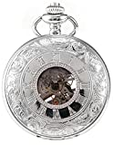 AMPM24 Silver White Skeleton Men's Carved Mechanical Classic Pocket Watch Chain Gift WPK081