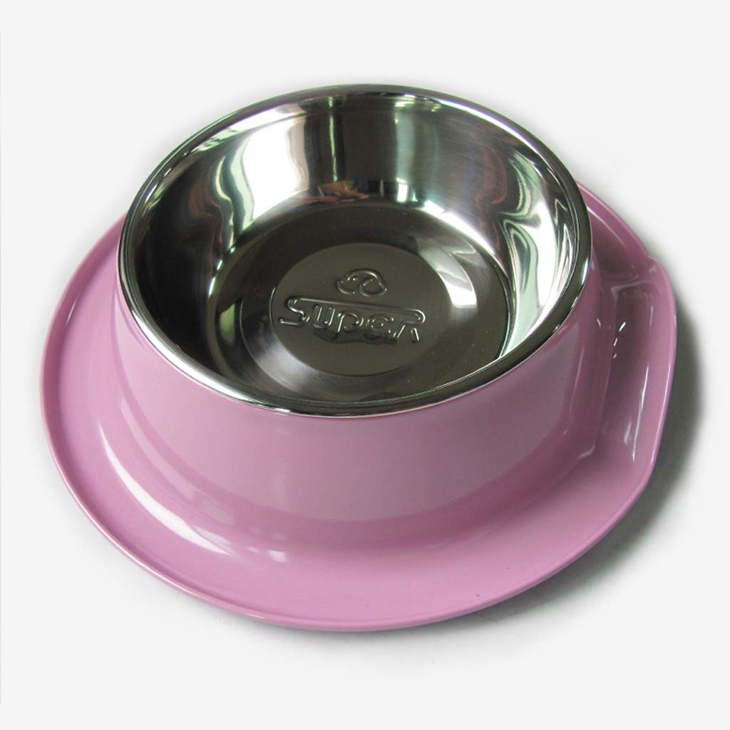 Purple MXD Dog Bowl Dog Food Bowl Cat Bowl Cat Food Dish Stainless Steel Leak-Proof Pet Bowl Pet Supplies (color   Purple)