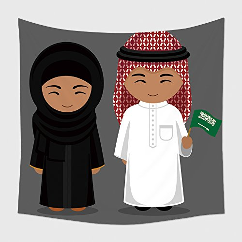 [Home Decor Tapestry Wall Hanging Travel To Saudi Arabia People In National Dress With A Flag Man And Woman In Traditional Costume 494297059 for Bedroom Living Room Dorm] (Wolf Goddess Costume)