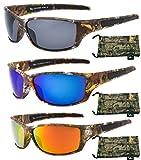 Hornz Brown Forrest Camouflage Polarized Sunglasses Men Full Frame & Free Matching Microfiber Pouch – 3 Pack Brown Camo Frame – Smoke Lens, Orange Lens, Blue Lens