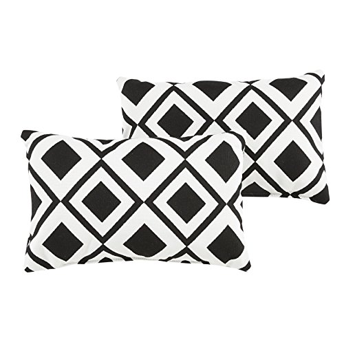 Mozaic Company Sunbrella Indoor/Outdoor 12 by 18-inch Knife Edge Pillow, Savvy Onyx, Set of 2