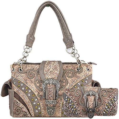 Western Style Tooled Leather Buckle Concealed Carry Purse Country Handbag Women Shoulder Bag Wallet Set (#3 Beige Set) (Rhinestone Western Purse)