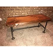 Industrial Pipe and Wood Coffee Table Live Edge Rustic Vintage (Honey Pine)