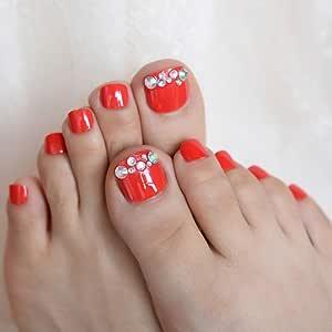 EchiQ 3D Holo AB - Juego de 24 puntas de uñas postizas para pies ...
