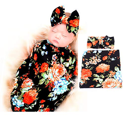 Galabloomer Newborn Receiving Blanket Headband Set Flower Print Baby Swaddle Receiving Blankets Black Rose
