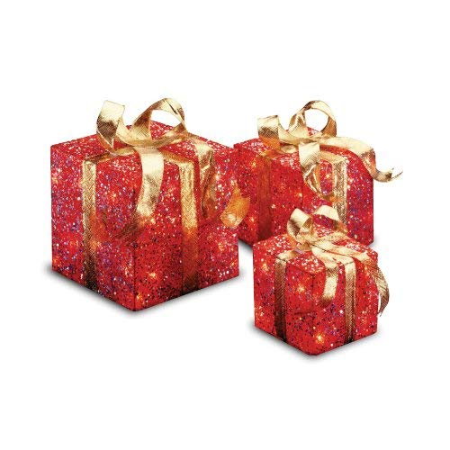 National Tree Set of 3 Assorted Red Sisal Gift Boxes with Clear Lights (MZGB-ASST-2L-1) ()