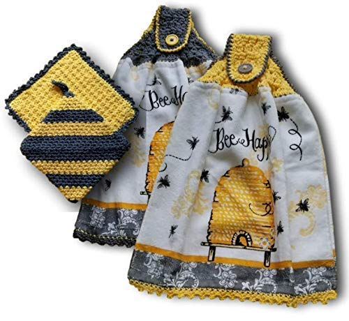 (Delightful Bee Happy terry towel with playful buzzing bees and whimsical bee hive. Coordinating dishcloth and potholder also)