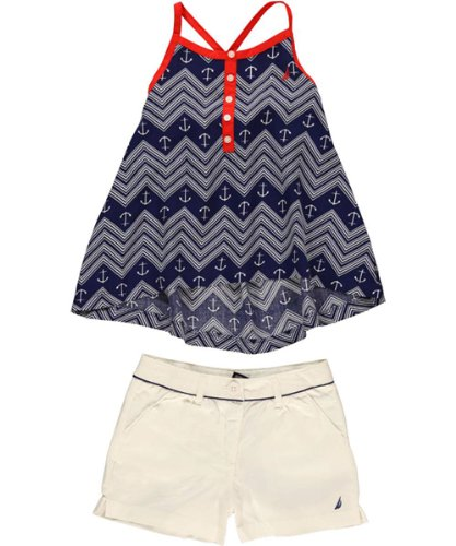 Nautica Girls 7-16 Printed Trapeze Tank With Colored Twill Short, Medium Navy, 8